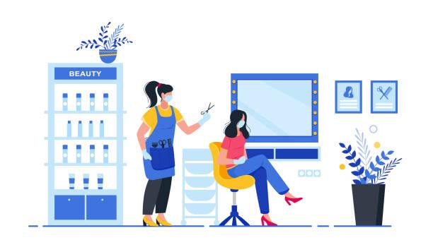 ilustrações de stock, clip art, desenhos animados e ícones de compliance with sanitary standards in a beauty salon. interior of beauty salon. - covid hair