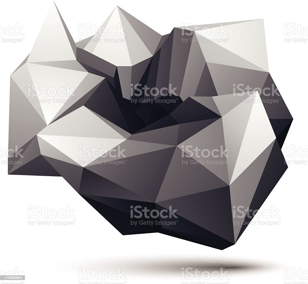 Complicated abstract grayscale 3D shape, vector digital object. vector art illustration