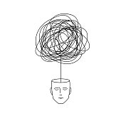 complicated abstract mind illustration. empty head with messy line inside. tangled scribble doodle vector path design.