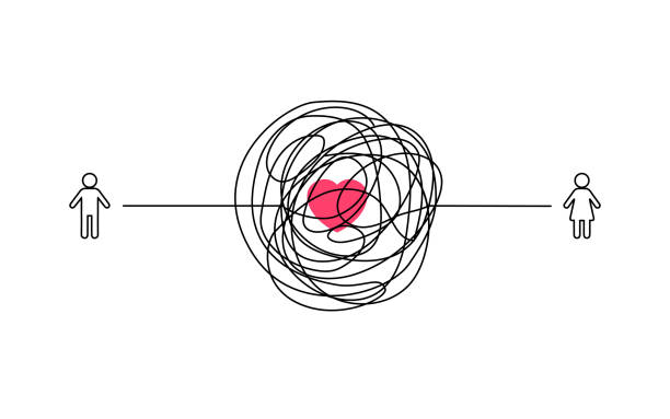 illustrazioni stock, clip art, cartoni animati e icone di tendenza di complicated couple love relationship illustration. man and woman symbol with messy line connection. tangled scribble line vector path doodle design. - divorzio