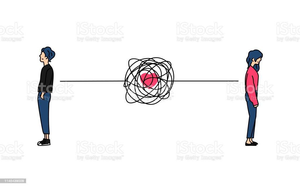 Couple Compliqué Amour Relation Problème Doodle Couleur