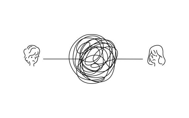 stockillustraties, clipart, cartoons en iconen met gecompliceerde paar relatie probleem illustratie. droevige jongen en meisje gezicht met rommelige lijn verbinding. verwarde krabbel lijn vector pad doodle design. - relatieproblemen