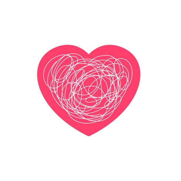 stockillustraties, clipart, cartoons en iconen met ingewikkelde liefde gevoel illustratie. hartsymbool met verwarde rommelige krabbel lijn doodle - relatieproblemen
