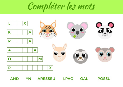 Compléter les mots - Complete the words, write missing letters. Matching educational game for children with cute animals. Educational activity page for study French. Isolated vector illustration.