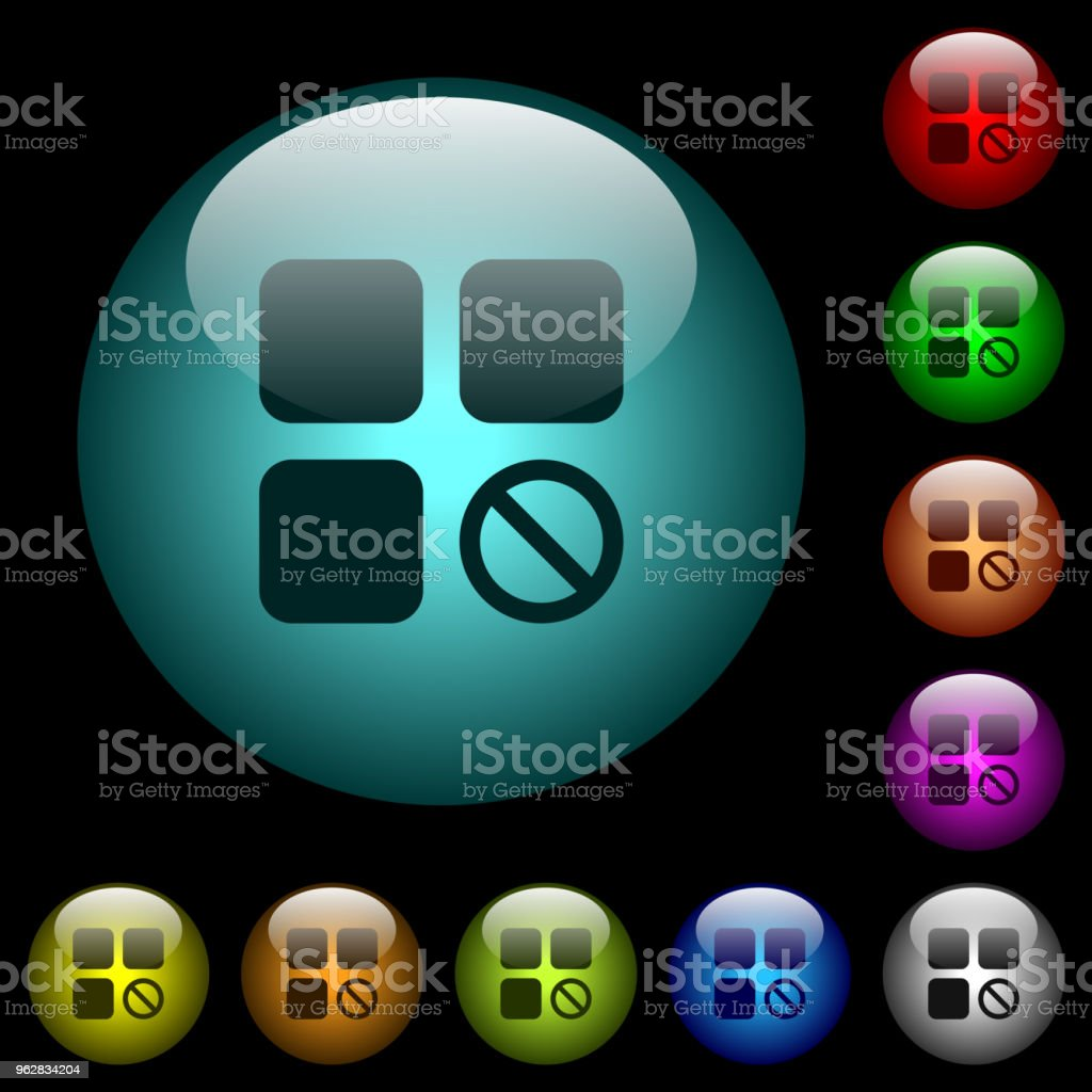 Component disabled icons in color illuminated glass buttons - arte vettoriale royalty-free di A forma di blocco