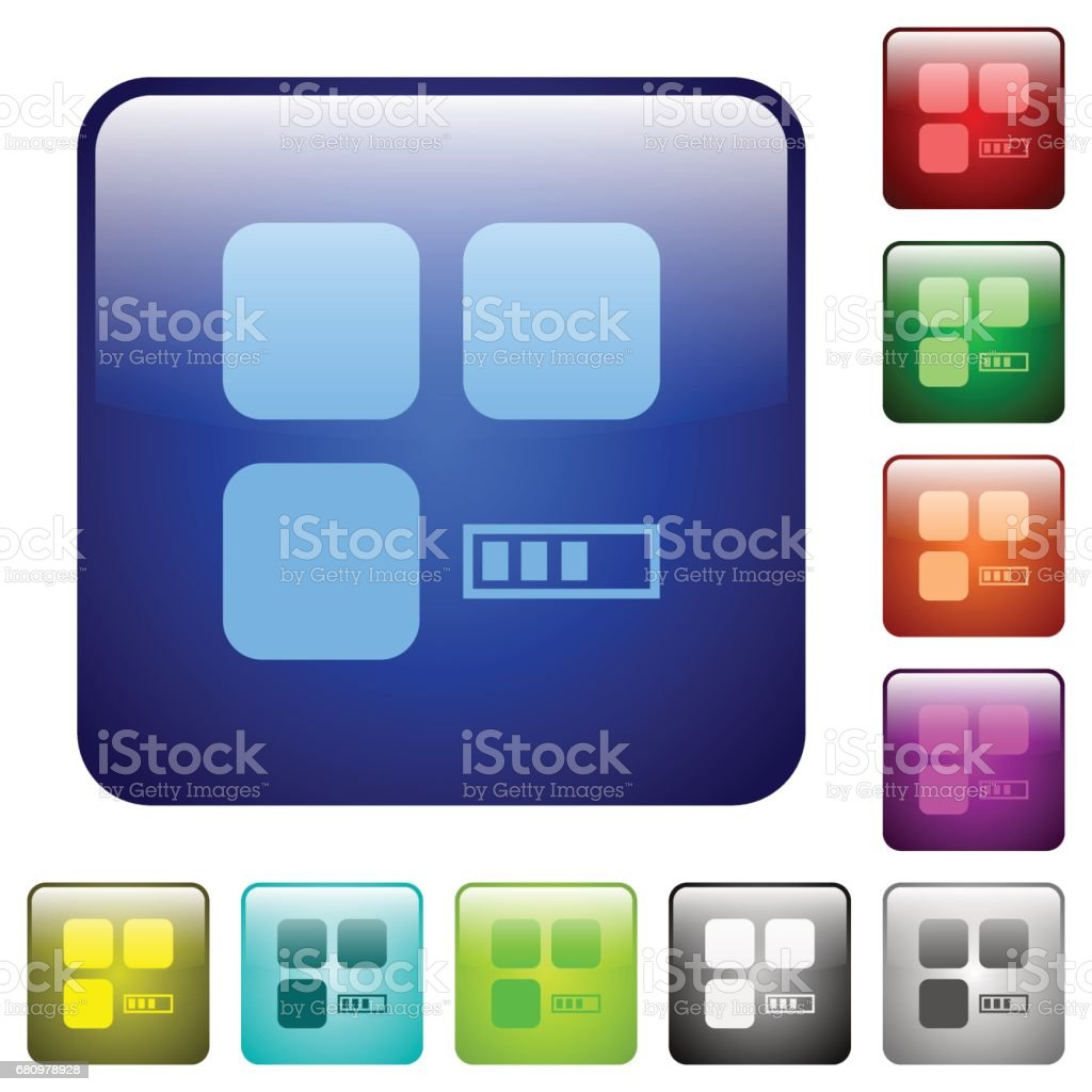 Component processing color square buttons royalty-free component processing color square buttons stock vector art & more images of applying