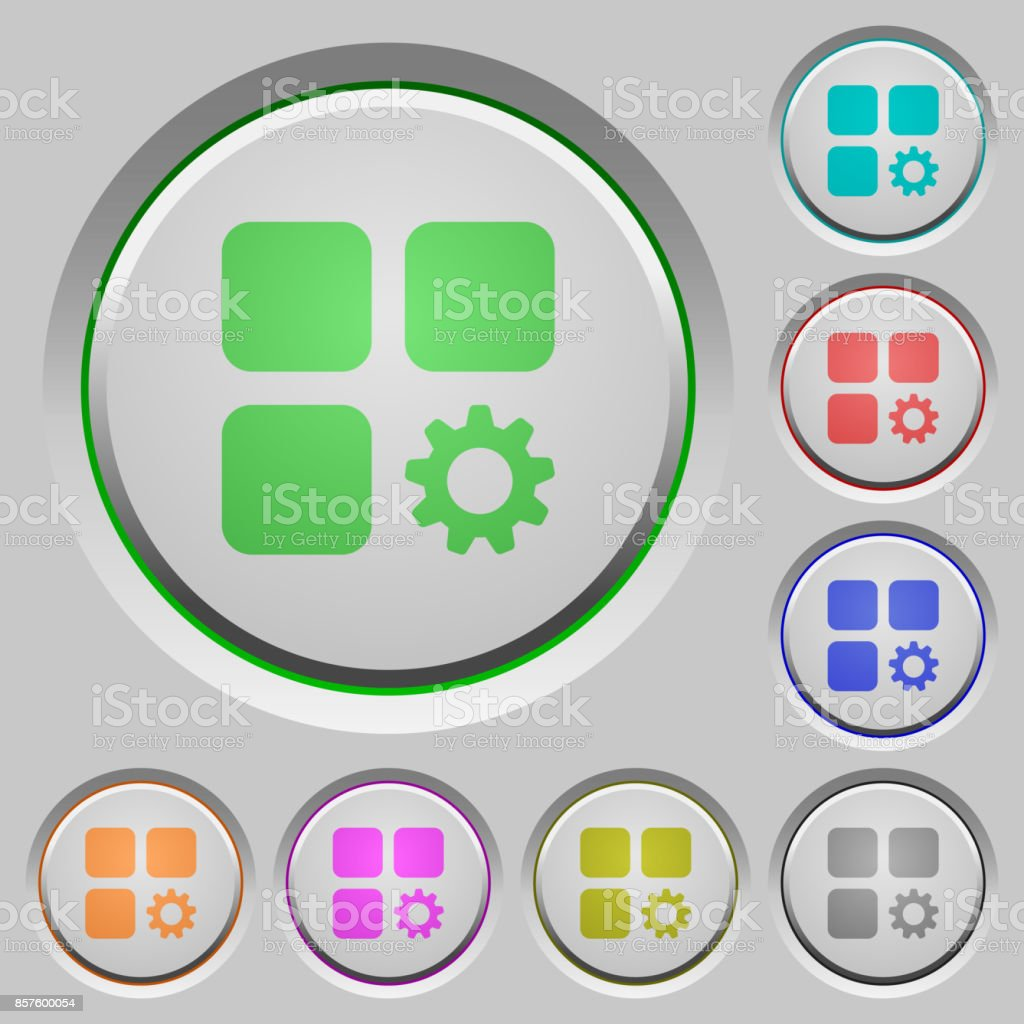 Component settings push buttons vector art illustration