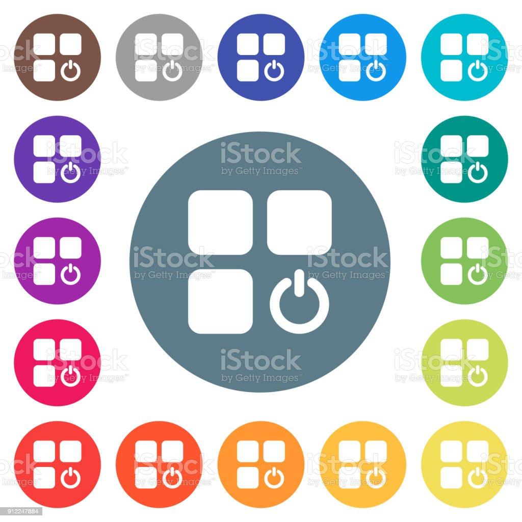 Komponente Schalter Flache Weiße Symbole Auf Runde Farbe ...