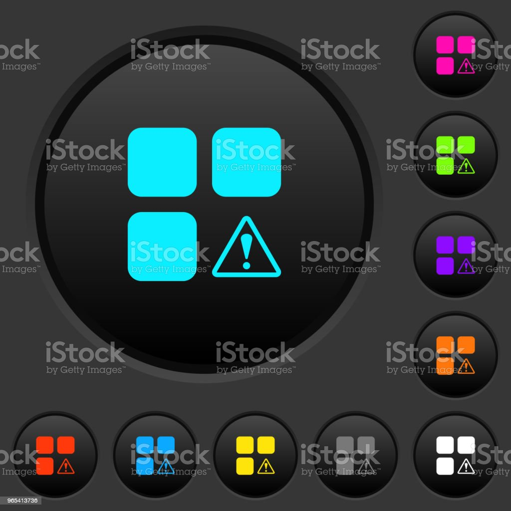 Component warning dark push buttons with color icons component warning dark push buttons with color icons - stockowe grafiki wektorowe i więcej obrazów bezpieczeństwo royalty-free