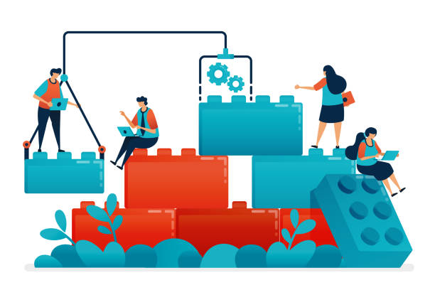 stockillustraties, clipart, cartoons en iconen met stel lego games samen voor teamwork en collaboratie in het oplossen van werk en zakelijke problemen. bouwmodel voor kinderen leiderschap en partnerschap. illustratie van de website, banner, software, poster - lego