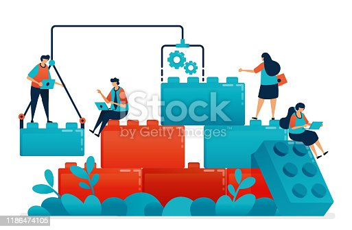 Compose lego games to teamwork and collaboration in work and business problem solving. Construction model for children leadership and partnership. Illustration of website, banner, software, poster