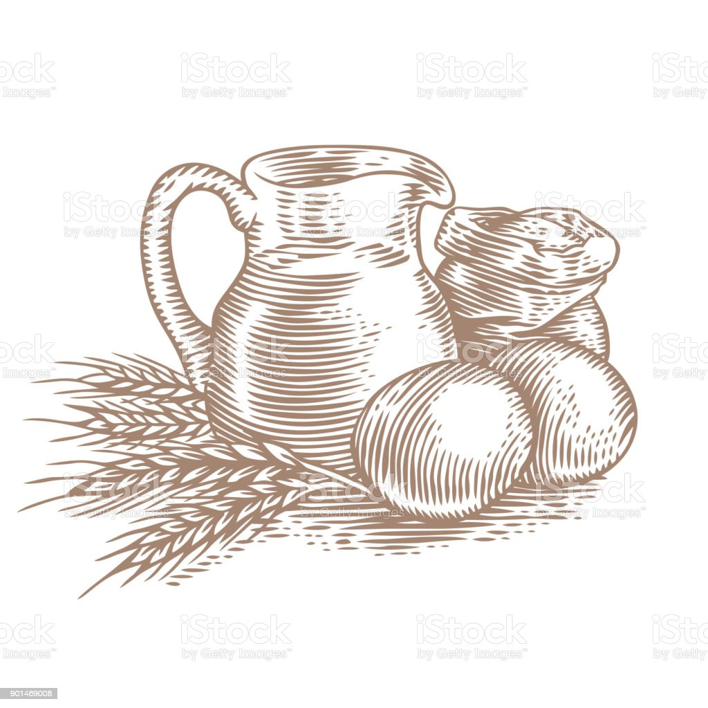 Compose with baking ingredients vector art illustration
