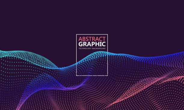 Bestehend aus Partikeln, die abstrakte Grafiken wirbeln. – Vektorgrafik