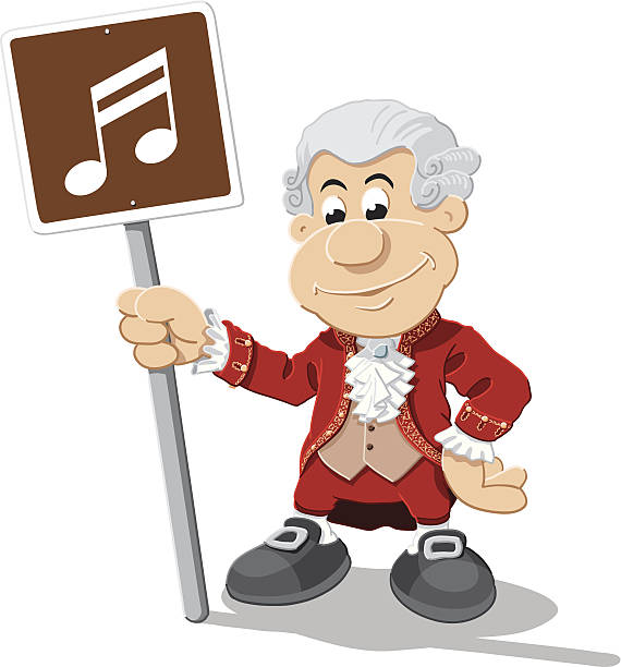Composer Cartoon Man Music Note Sign Isolated Vector Illustration of a cartoon composer, who is holding a brown sign with a note. The illustration is on a transparent background (.eps-file). The colors in the .eps-file are ready for print (CMYK). Included files: EPS (v8) and Hi-Res JPG. cartoon people sign stock illustrations