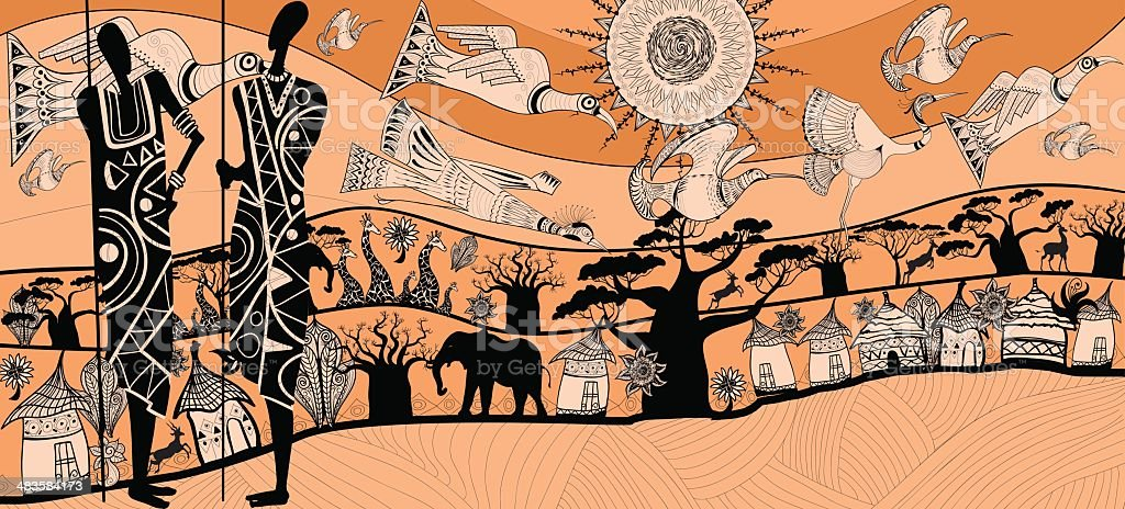 composition about africa vector art illustration