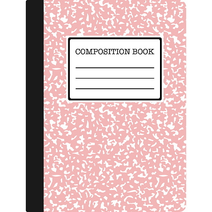 Composition notebook cover with copy space isolated on white background