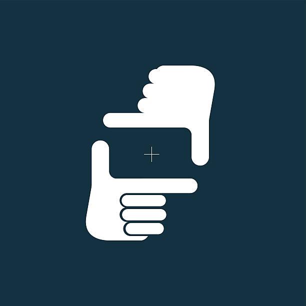 """stockillustraties, clipart, cartoons en iconen met """"composition"""" gesture icon, vector illustration. - menselijke vinger"""