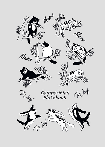 Composition Notebook, College Notebook, School Notebook for Girls and Boys. Book cover design. Doodle Style. Funny dogs and cute cats . Black and white animal doodles. Vector illustration.