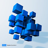 Composition of blue 3d cubes. Vector illustration