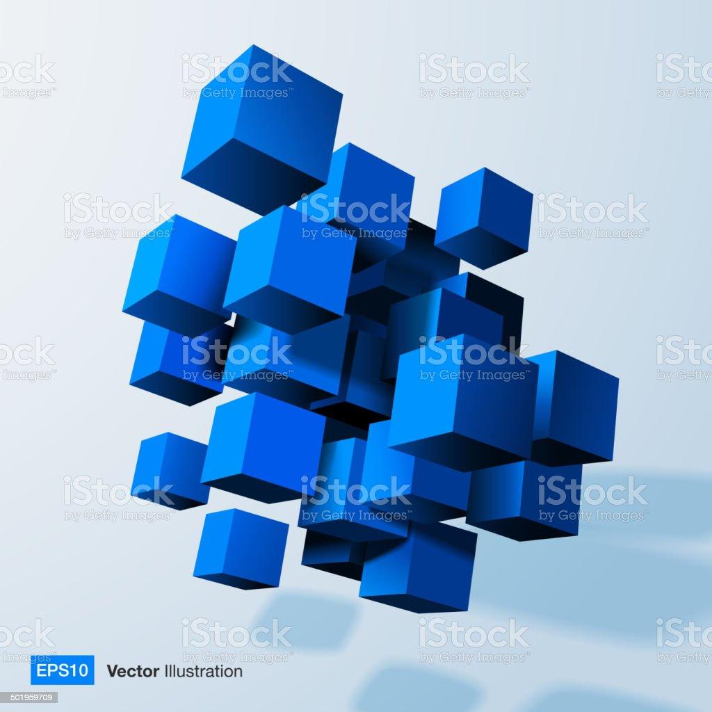 Composition of blue 3d cubes. vector art illustration