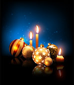 Composition of Christmas balls and candles on a dark blue background with reflection effect . Highly realistic illustration.