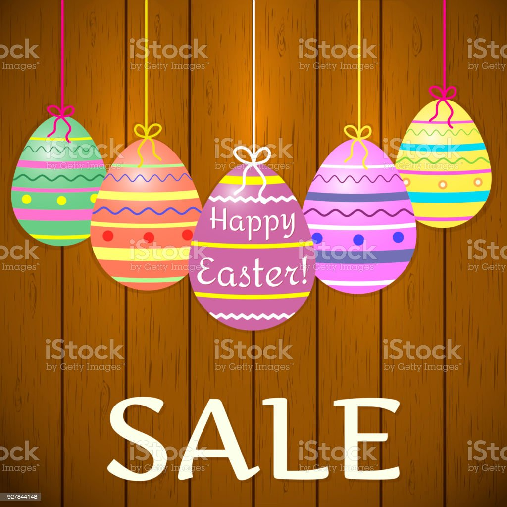 A Composition Of Decorative Multicolored Easter Eggs On Ribbons On