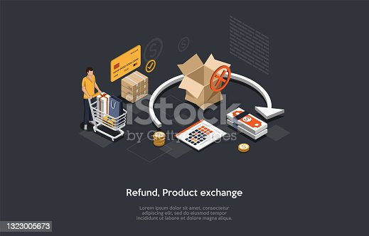 istock Composition On Dark Background. 3D Isometric Vector Design, Cartoon Style. Order Refund Or Product Exchange Concept. Person With Full Cart, Boxes, Money And Infographics. Democratic Shopping Policy. 1323005673