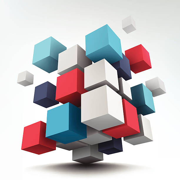 Composition with 3d cubes Abstract vector Illustration. Composition of 3d cubes. Background design. Logo design. cube shape stock illustrations