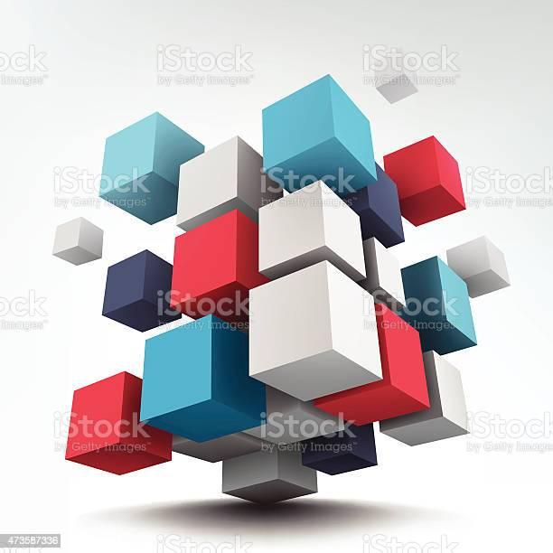 Composition With 3d Cubes Stockvectorkunst en meer beelden van 2015
