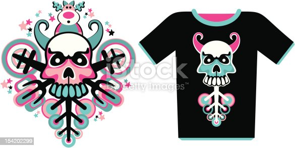 composition with a skull and T-shirt