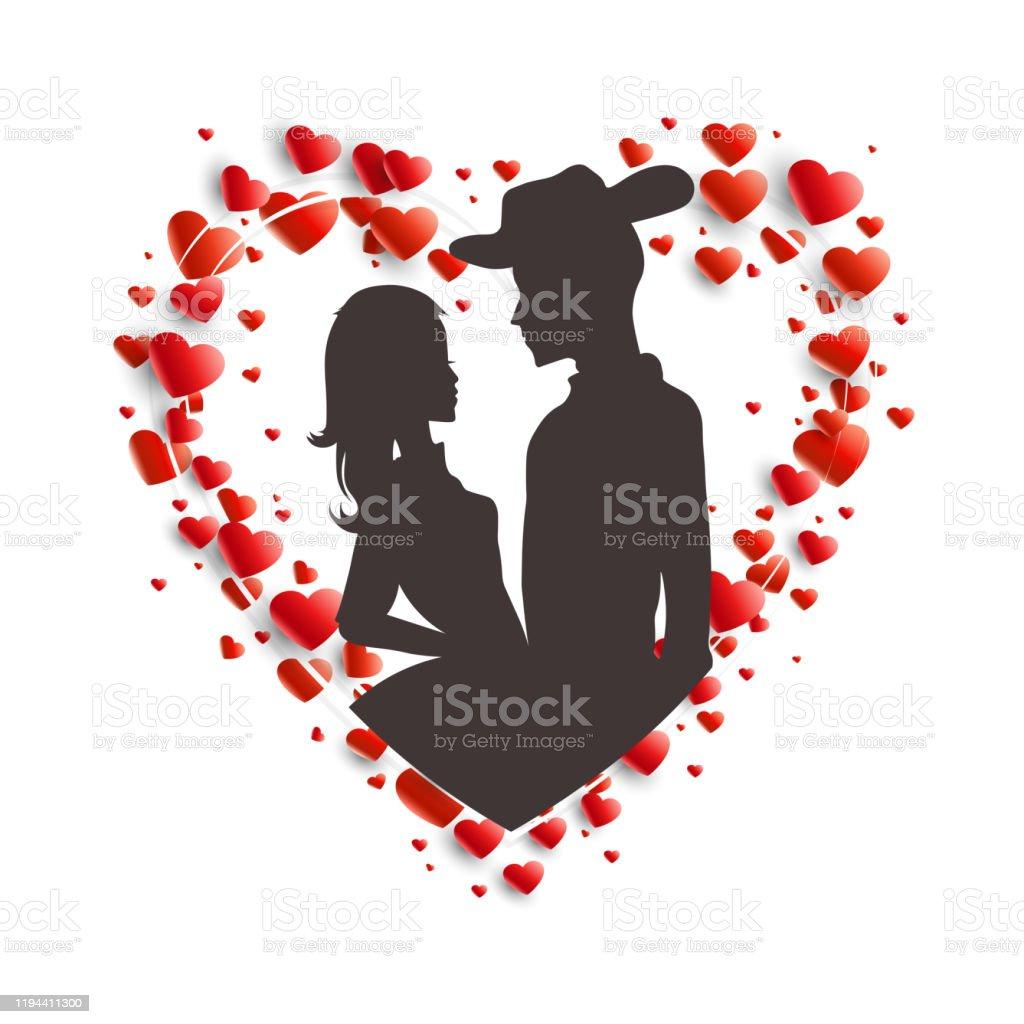 帽子をかぶった男と長い髪の少女の花輪と暗いシルエットを持つ構図 イラストレーションのベクターアート素材や画像を多数ご用意 Istock