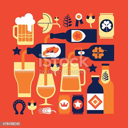 Composition with beer drinking culture images.