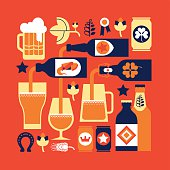 Square composition with beer drinking culture related images. ZIP includes large JPG (CMYK) PNG with transparent background.