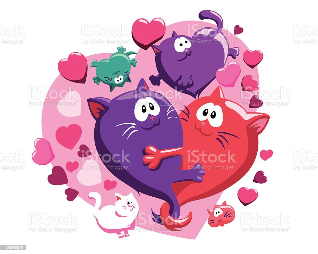 Composition with cats and hearts vector art illustration