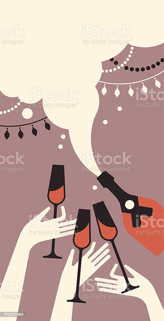 Composition with champaign glasses vector art illustration