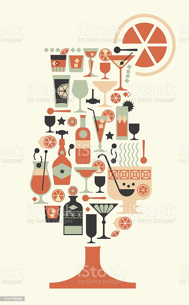 Composition with cocktail silhouettes. vector art illustration