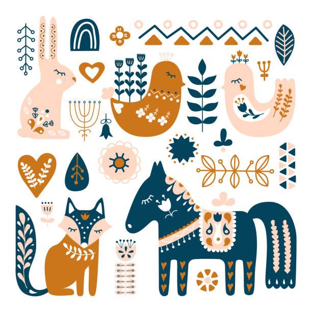 bildbanksillustrationer, clip art samt tecknat material och ikoner med komposition med folkkonst djur och dekorativa element. hand dras vektor mönster. skandinaviska, nordisk stil. - swedish nature