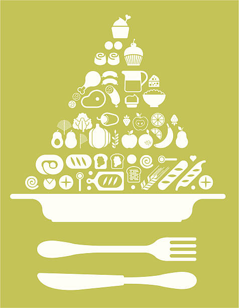 Composition with food pyramid and plate Composition with food pyramid and plate. ZIP includes large JPG (CMYK), PNG with transparent background. avocado silhouettes stock illustrations