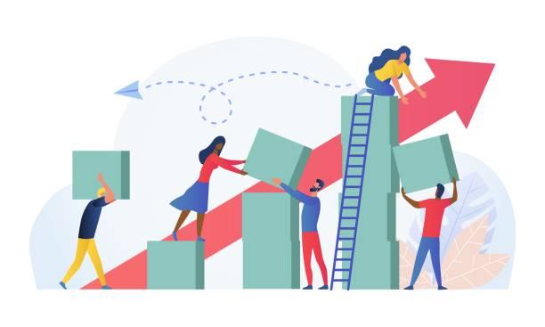 skład z grupą pracowników wielorasowych - biznes stock illustrations