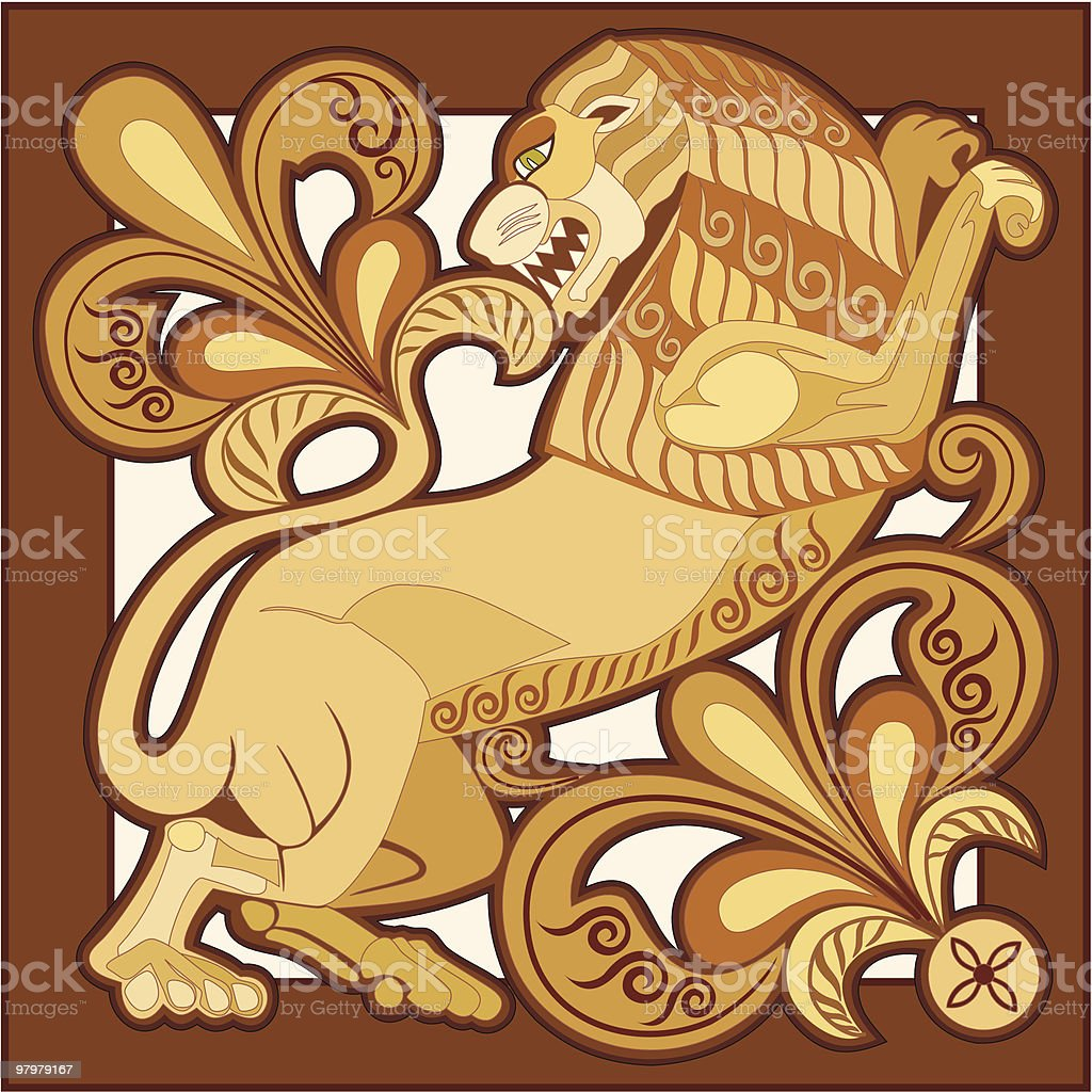 composition with lion and floral elements royalty-free composition with lion and floral elements stock vector art & more images of abstract