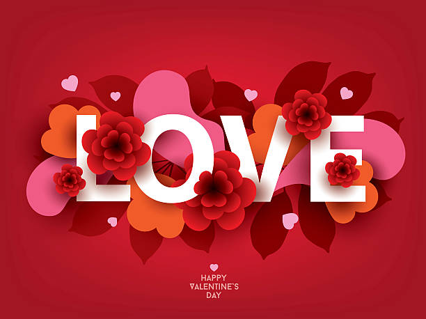Composition with LOVE inscription and abstract florals elements. - Illustration vectorielle