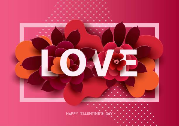 stockillustraties, clipart, cartoons en iconen met samenstelling met liefde inscriptie en abstract florals elementen - romantiek begrippen