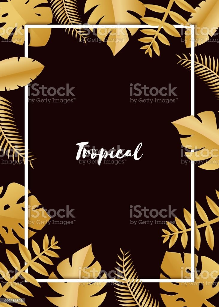 composition with luxury golden jungle leaves on white background in