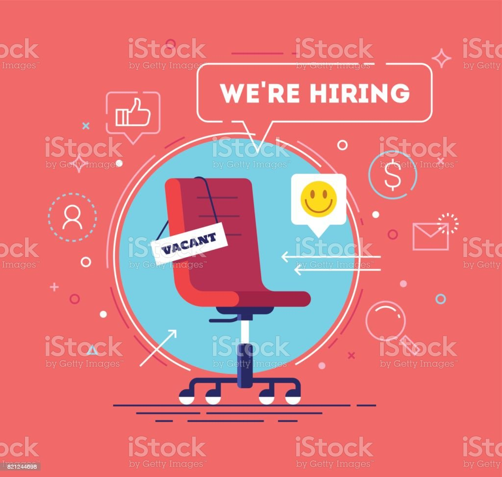 Composition with office chair, a sign vacant and inscription we're hiring with icons on background. Business recruiting concept. Vector illustration. vector art illustration