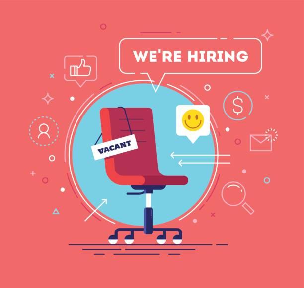 Komposition mit Bürostuhl, ein Zeichen frei und Inschrift suchen wir mit Symbolen auf Hintergrund. Business recruiting-Konzept. Vektor-Illustration. – Vektorgrafik