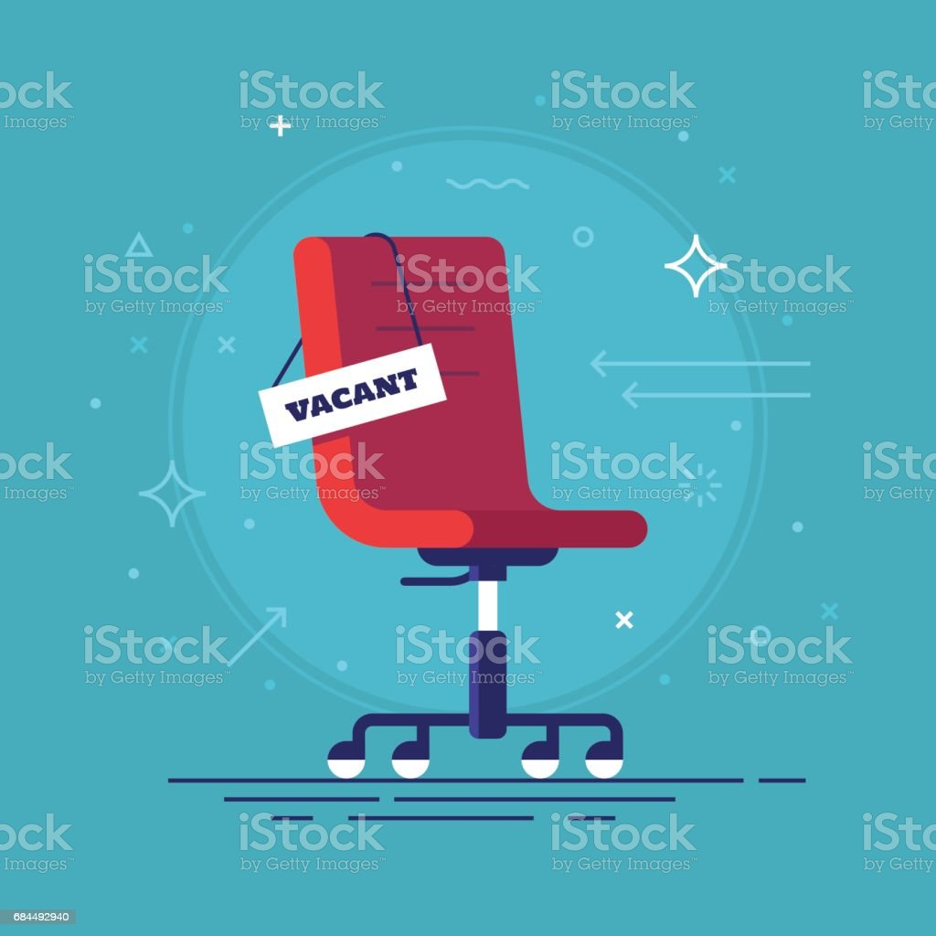 Composition with office chair and a sign vacant. Business hiring and recruiting concept. Vector illustration. vector art illustration