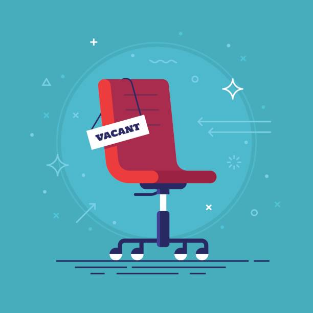 Composition with office chair and a sign vacant. Business hiring and recruiting concept. Vector illustration. Composition with office chair and a sign vacant. Business hiring and recruiting concept. Vector illustration. no people stock illustrations