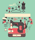 composition with sewing machine. ZIP includes large JPG (CMYK), PNG with transparent background.