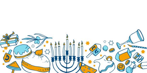 ilustraciones, imágenes clip art, dibujos animados e iconos de stock de composición con objetos tradicionales de hanukkah en la parte inferior de la página. ilustración de boceto vectorial de contorno dibujada a mano - hanukkah