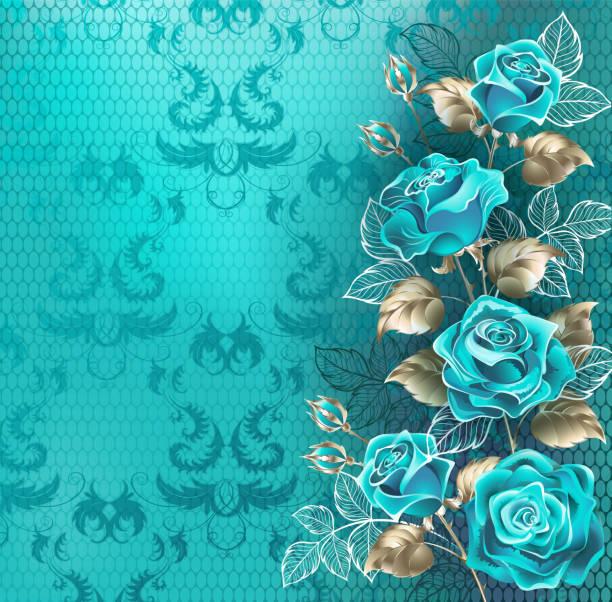 komposition mit türkisfarbenen rosen - hochzeitsanstecker stock-grafiken, -clipart, -cartoons und -symbole